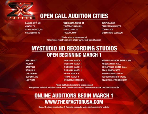 THE X FACTOR Season 2 Audition Info